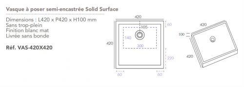 Vasque à poser semi-encastrée Solid Surface